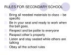 rules for secondary school