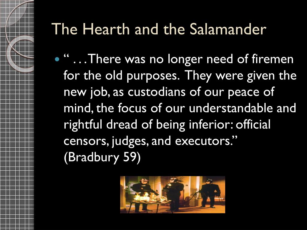 why they called it the hearth and the salamander Hearth and the salamander part 1 continued name one thing that clarisse talks about that is different today than in the past what did the radio in the firehouse say.