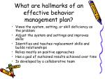 what are hallmarks of an effective behavior management plan