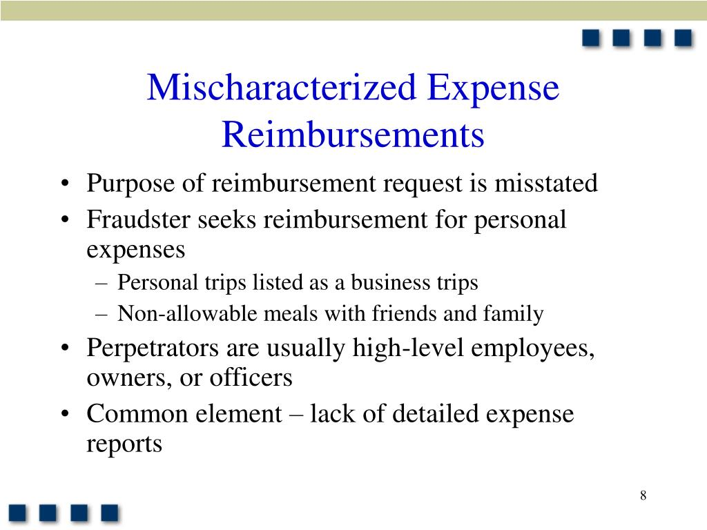 Mischaracterized Expense Reimbursements