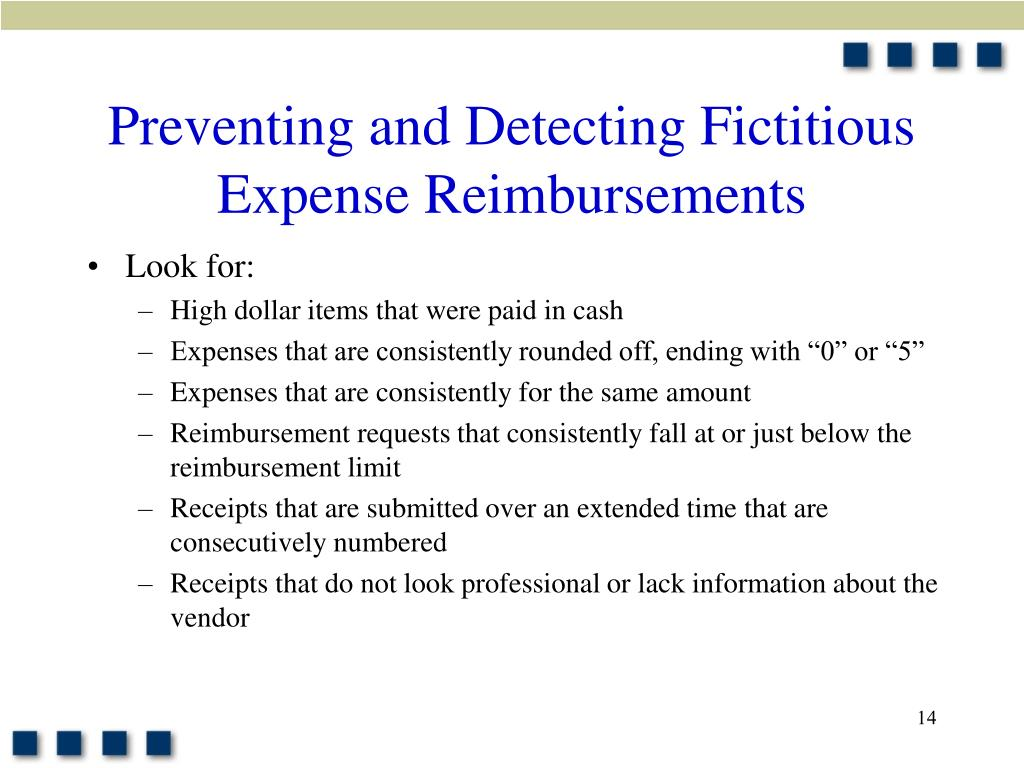 Preventing and Detecting Fictitious Expense Reimbursements