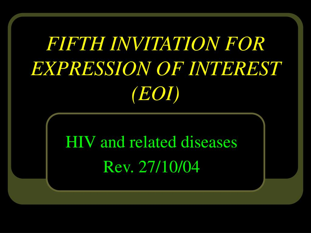 FIFTH INVITATION FOR EXPRESSION OF INTEREST (EOI)