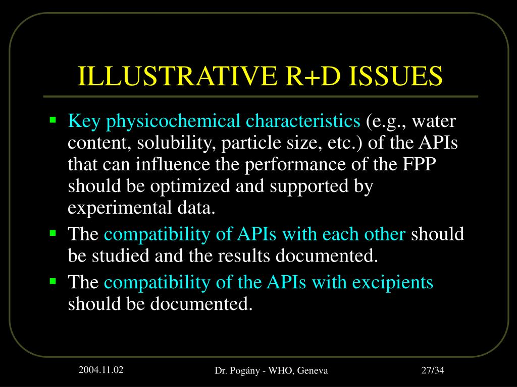 ILLUSTRATIVE R+D ISSUES