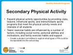 secondary physical activity