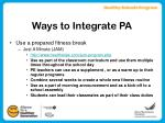 ways to integrate pa