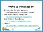 ways to integrate pa9