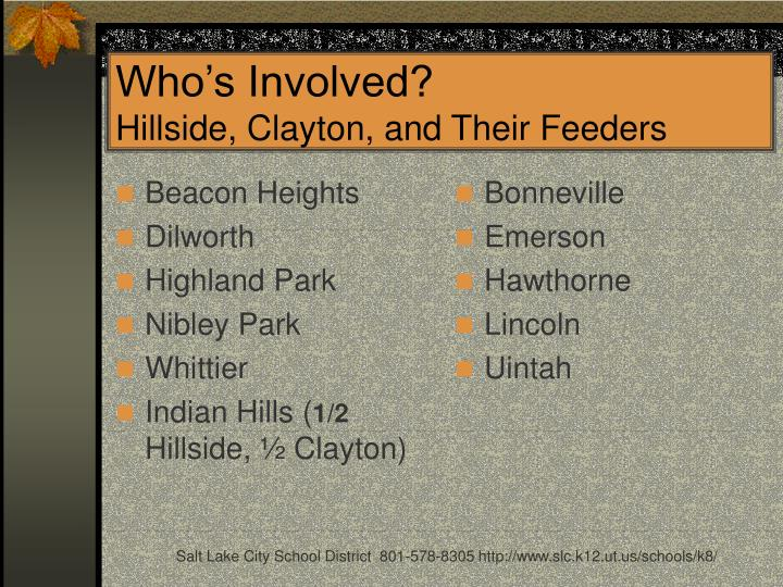 Who s involved hillside clayton and their feeders