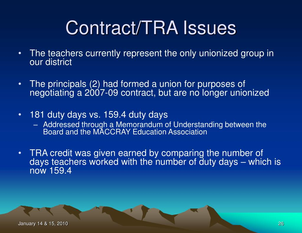 Contract/TRA Issues