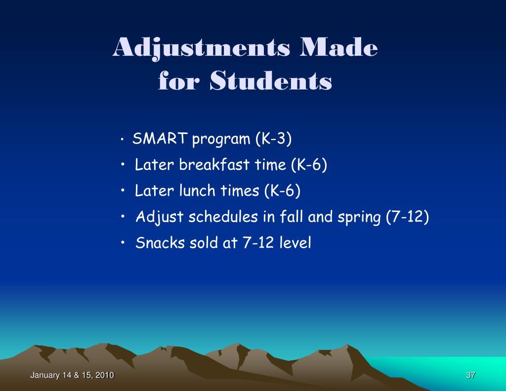 Adjustments Made