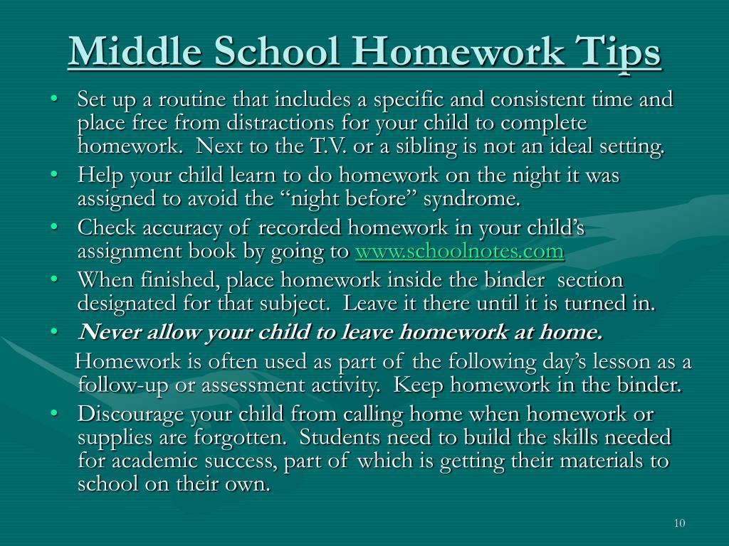 Middle School Homework Tips