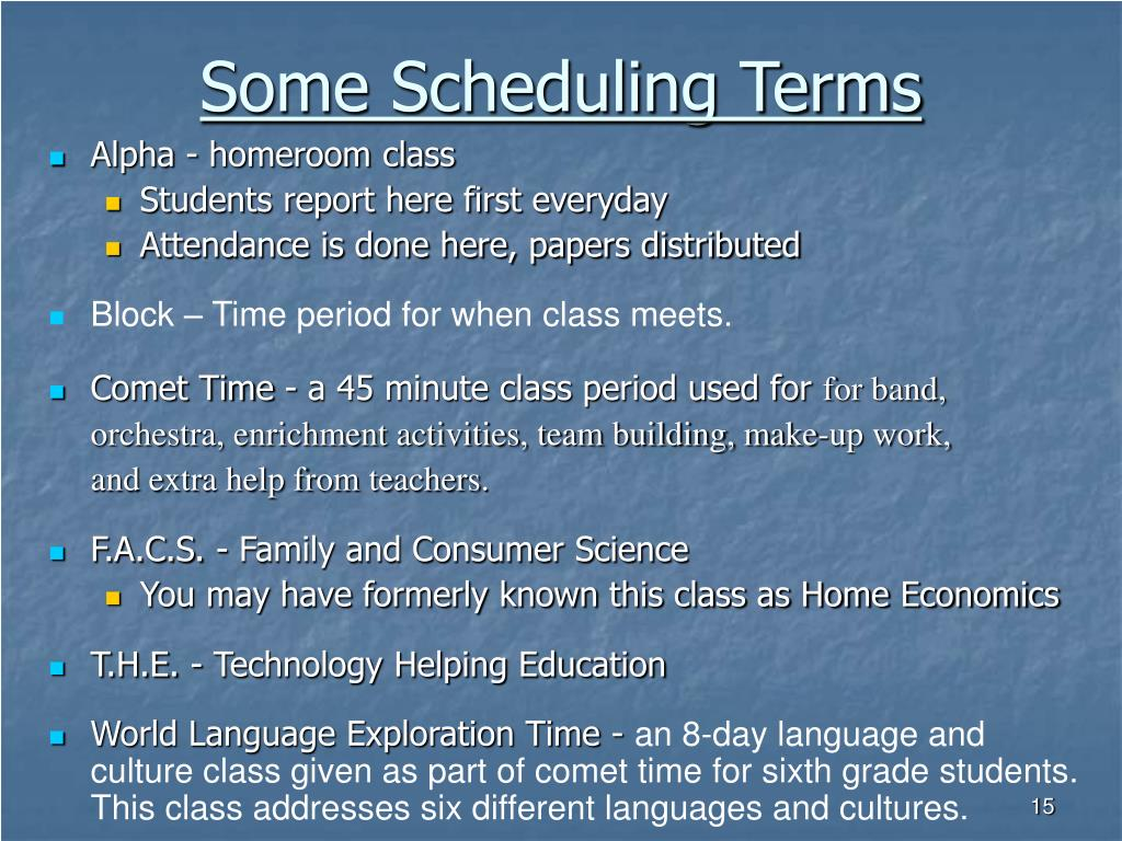 Some Scheduling Terms