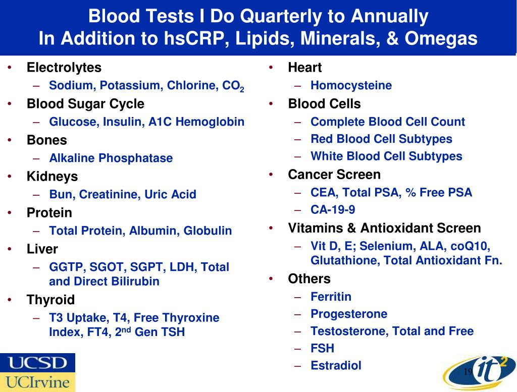 Blood Tests I Do Quarterly to Annually