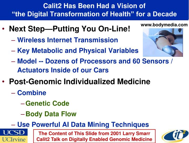 Calit2 has been had a vision of the digital transformation of health for a decade