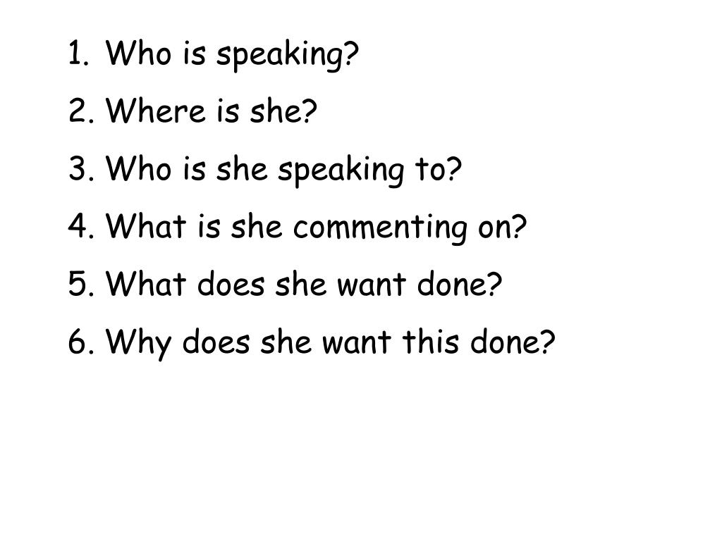 Who is speaking?