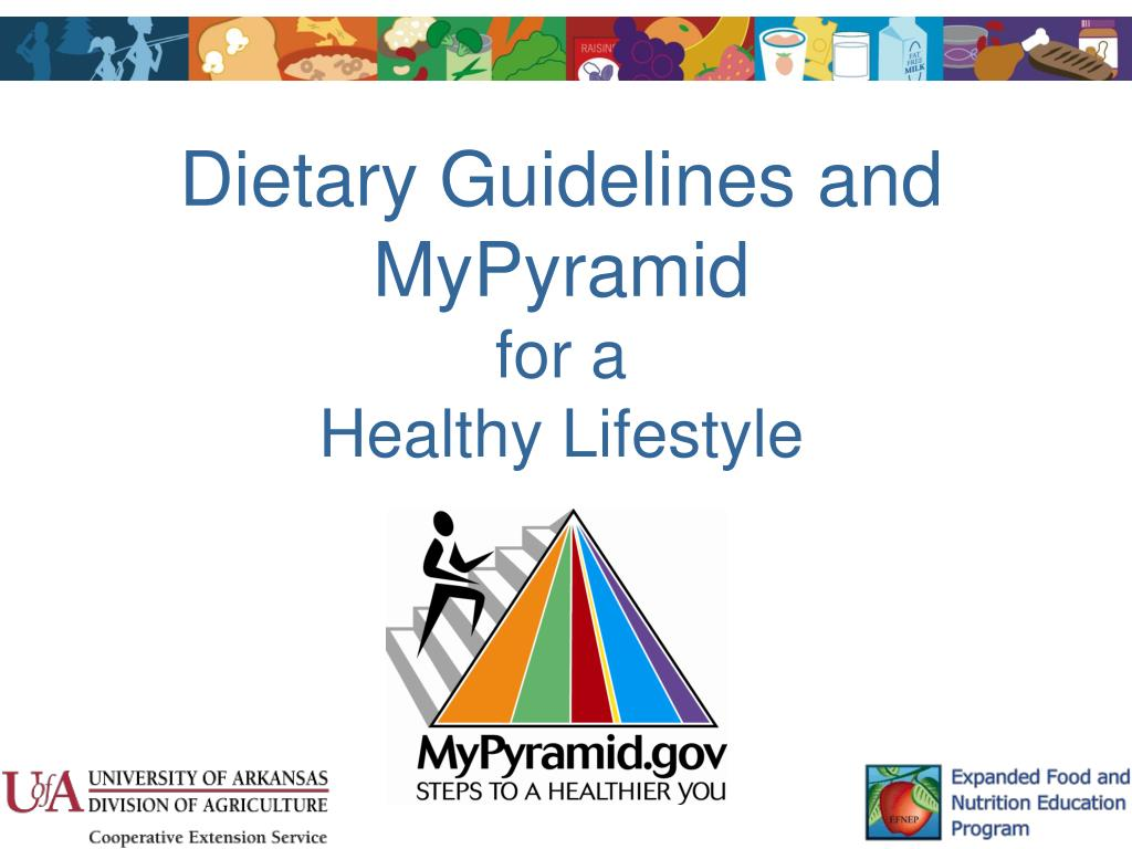 dietary guidelines and mypyramid for a healthy lifestyle l.