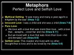 metaphors perfect love and selfish love