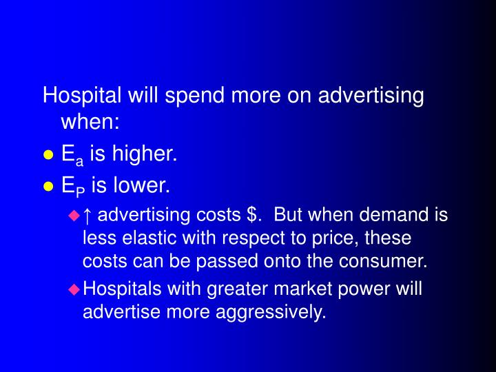 Hospital will spend more on advertising when:
