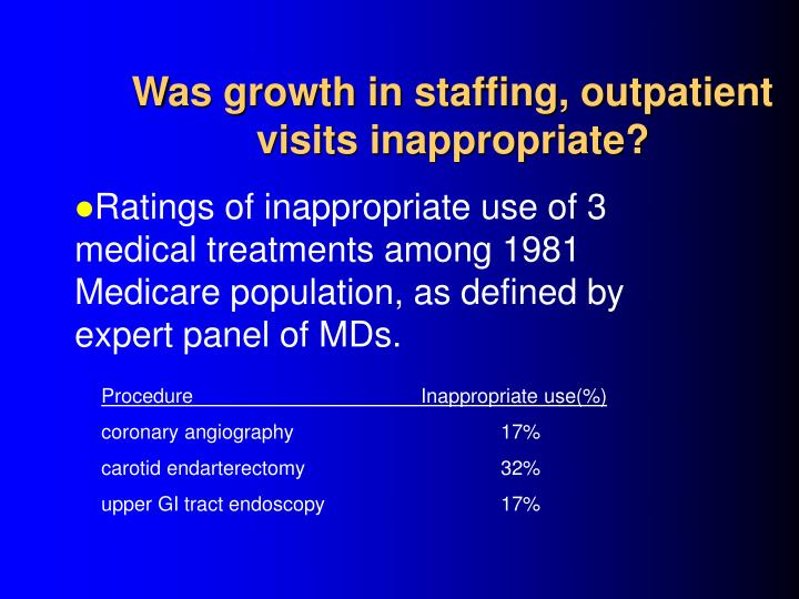 Was growth in staffing, outpatient visits inappropriate?