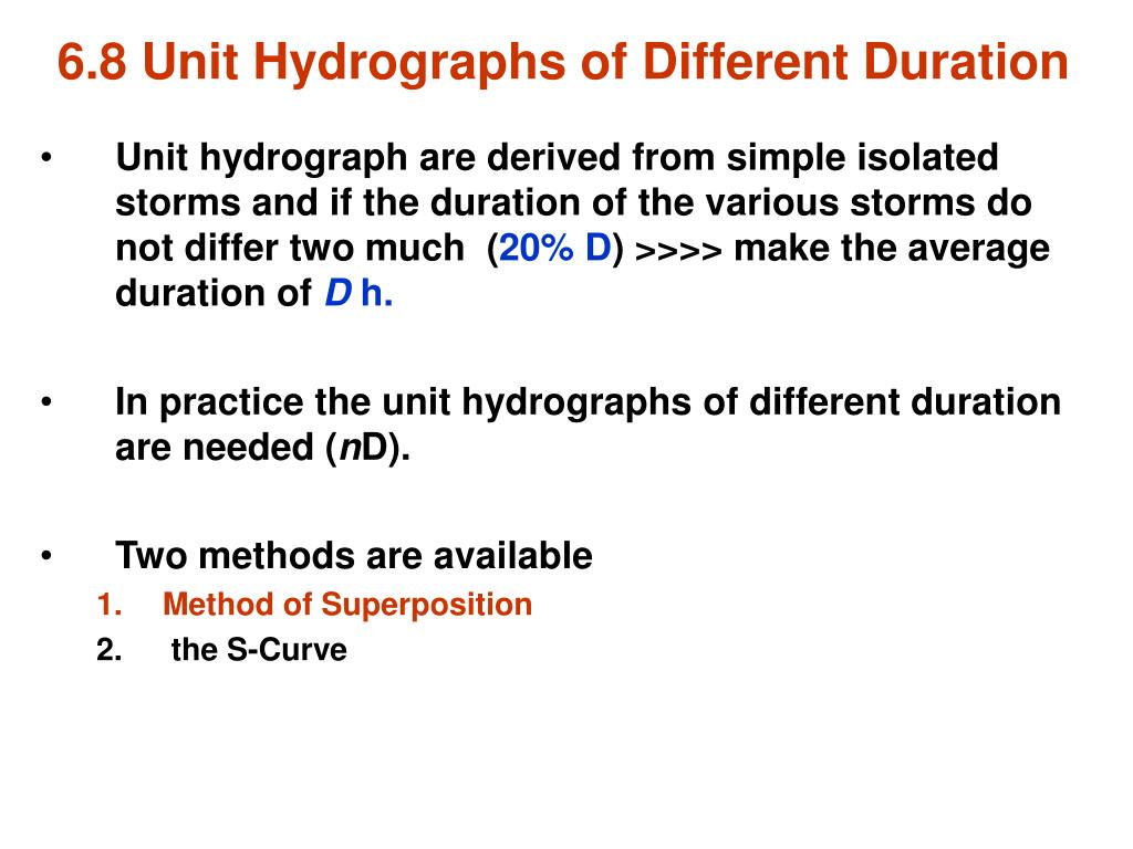 6.8 Unit Hydrographs of Different Duration