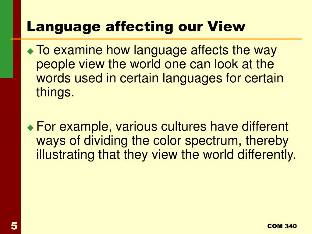 Language affecting our View