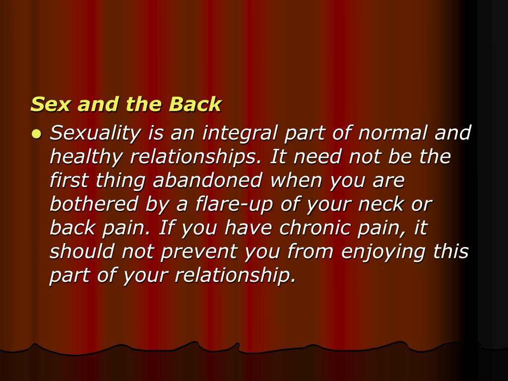 Sex and the Back