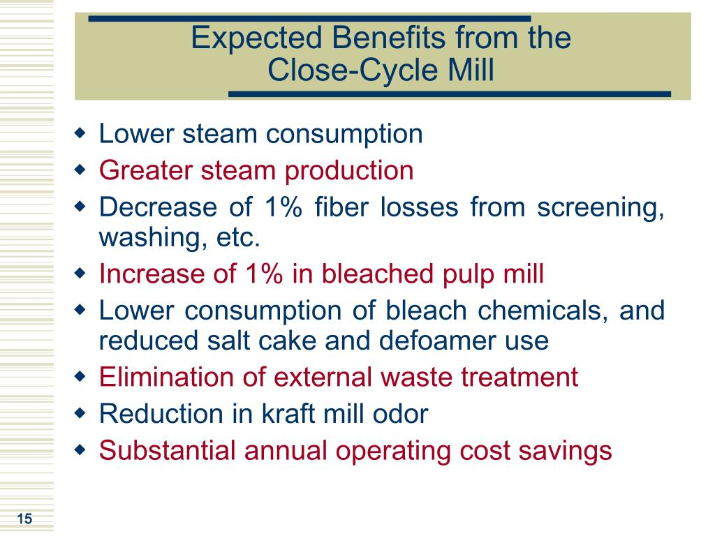 Expected Benefits from the              Close-Cycle Mill