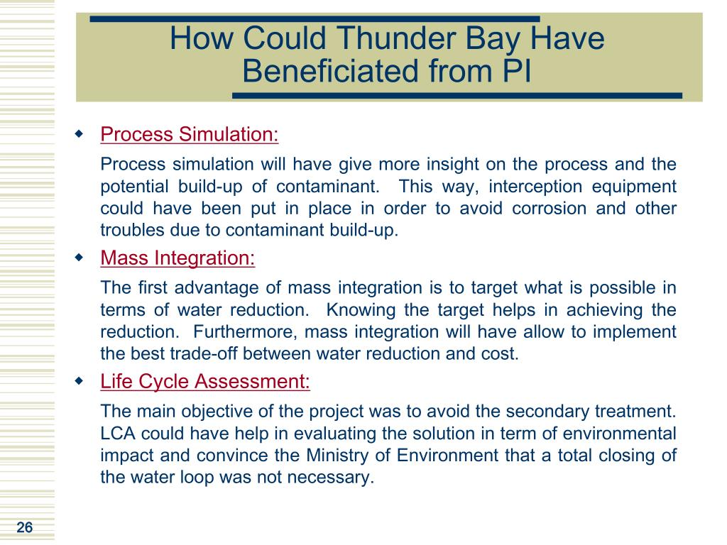 How Could Thunder Bay Have Beneficiated from PI