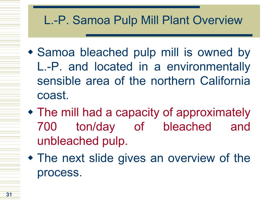 L.-P. Samoa Pulp Mill Plant Overview