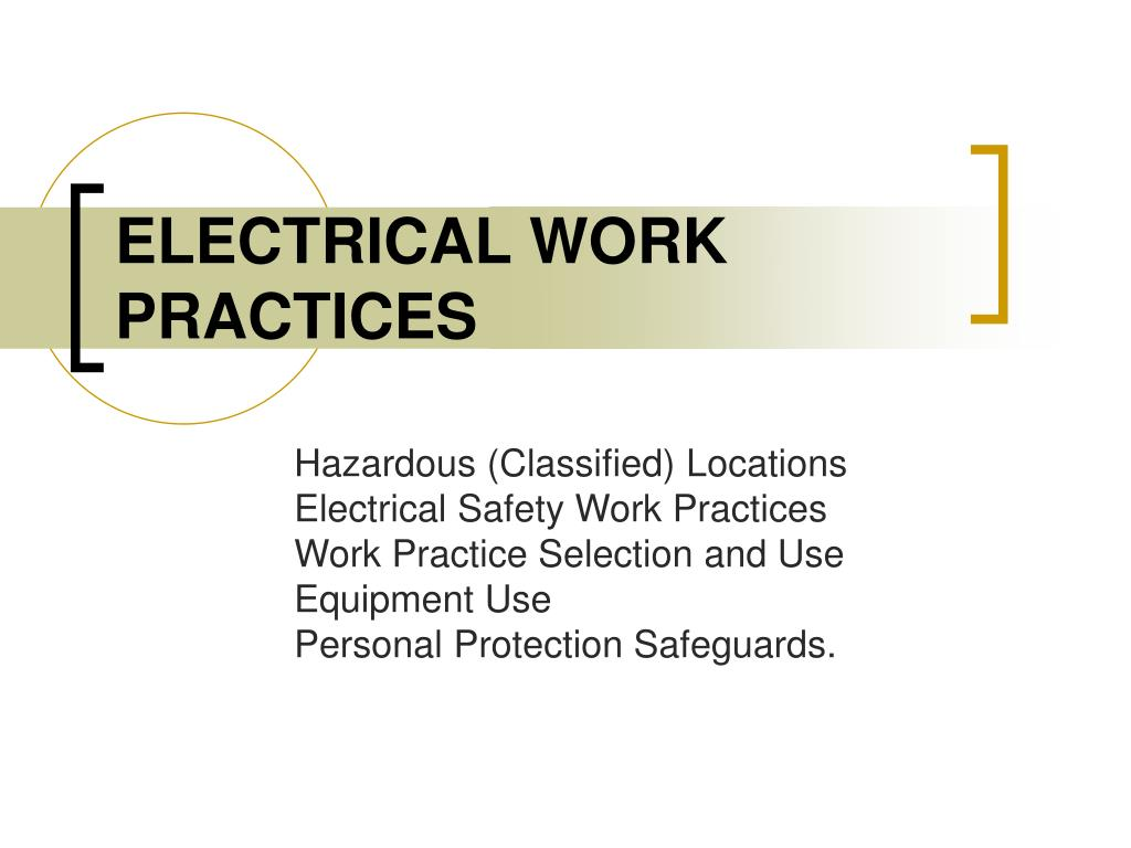 electrical work practices l.