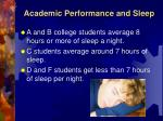 academic performance and sleep