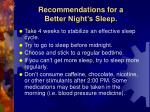 recommendations for a better night s sleep