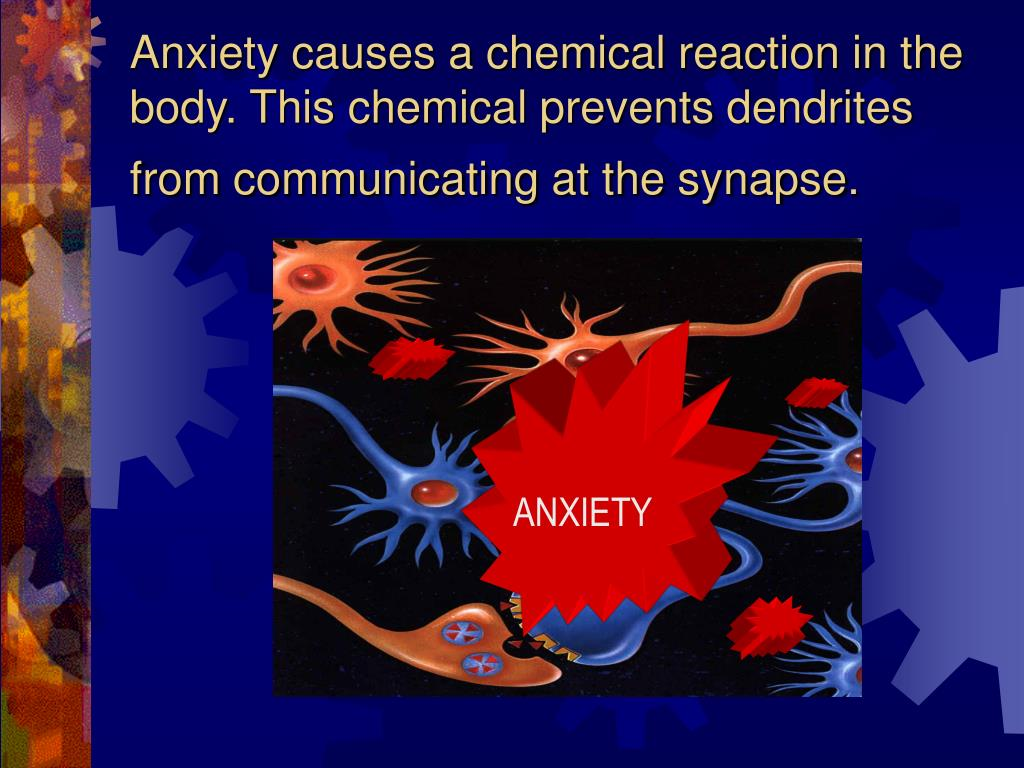 Anxiety causes a chemical reaction in the body. This chemical prevents dendrites from communicating at the synapse.