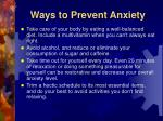 ways to prevent anxiety