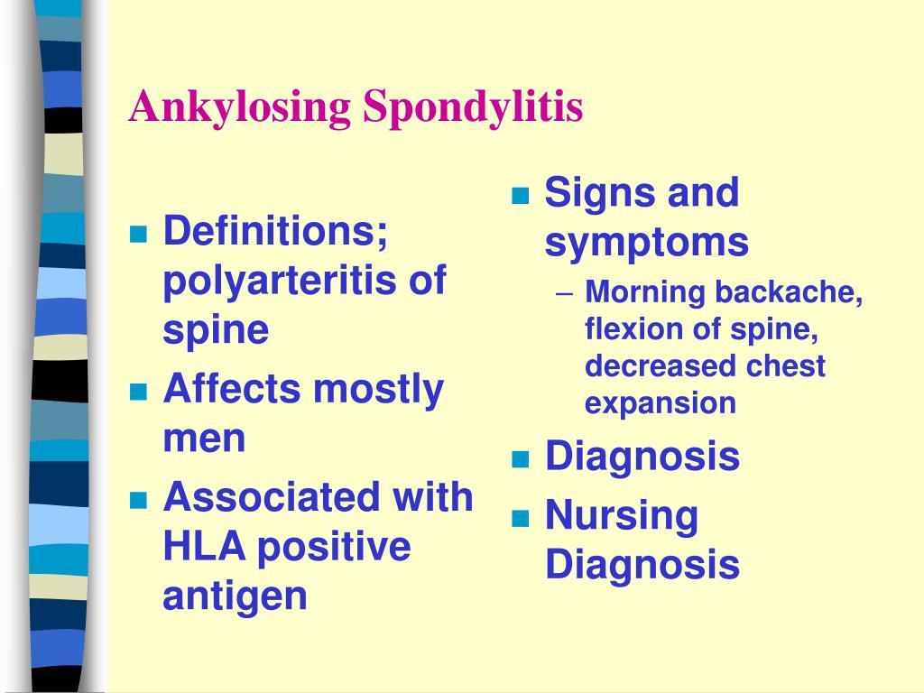 Definitions; polyarteritis of spine
