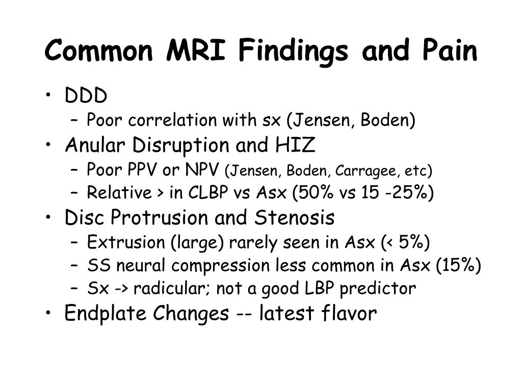Common MRI Findings and Pain