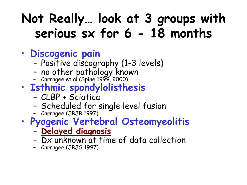 Not Really… look at 3 groups with serious sx for 6 - 18 months