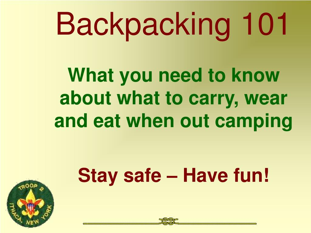backpacking 101 l.