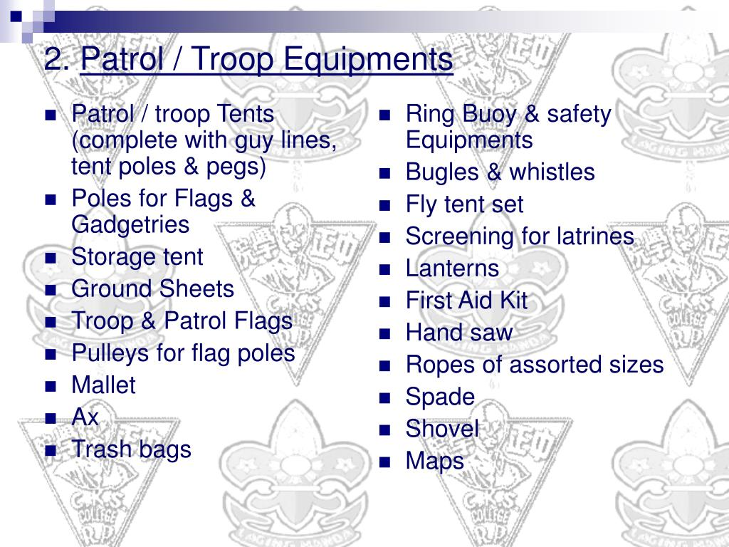 Patrol / troop Tents (complete with guy lines, tent poles & pegs)