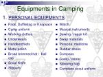 equipments in camping