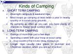 kinds of camping