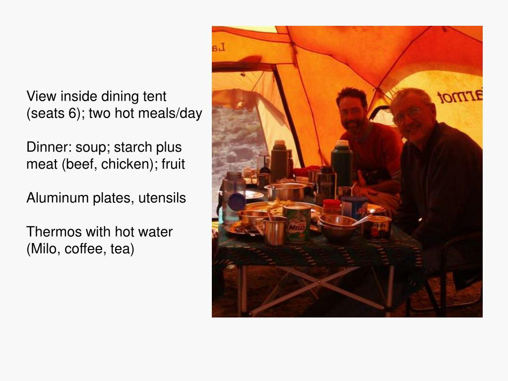 View inside dining tent