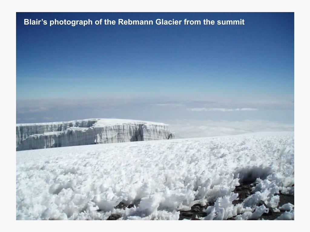 Blair's photograph of the Rebmann Glacier from the summit