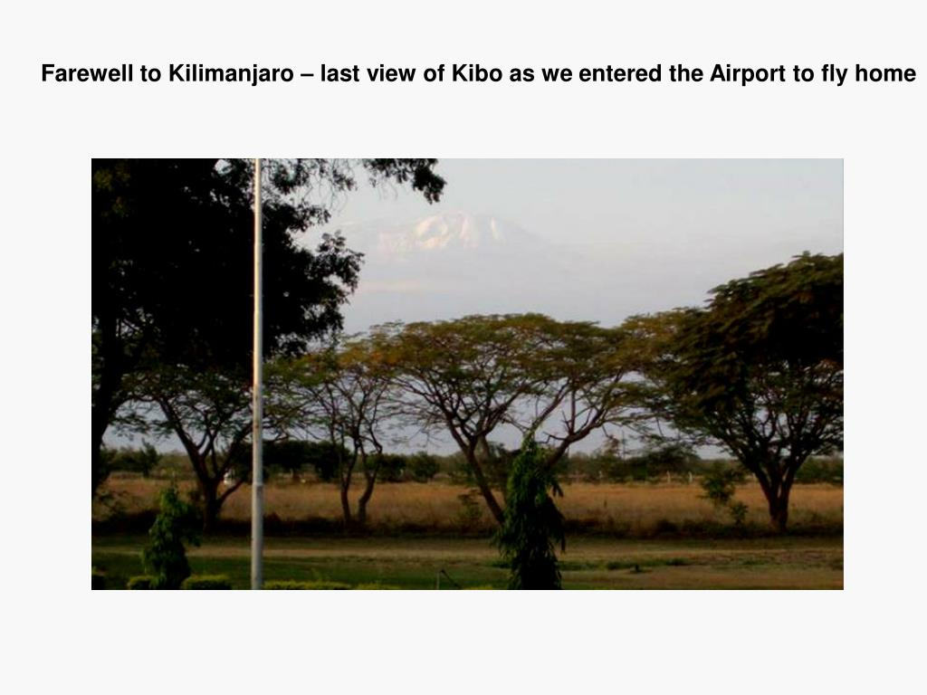 Farewell to Kilimanjaro – last view of Kibo as we entered the Airport to fly home