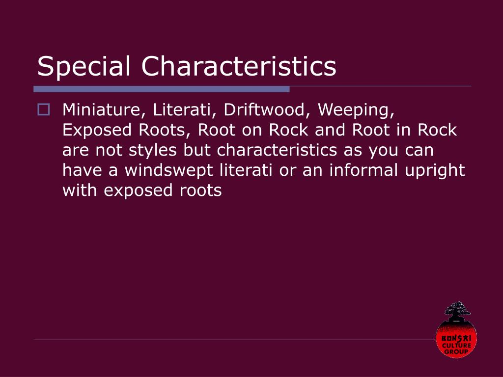 Special Characteristics
