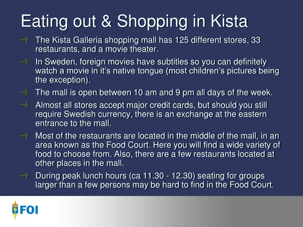 eating out shopping in kista l.