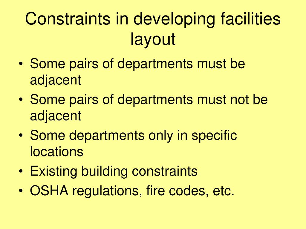 Constraints in developing facilities layout