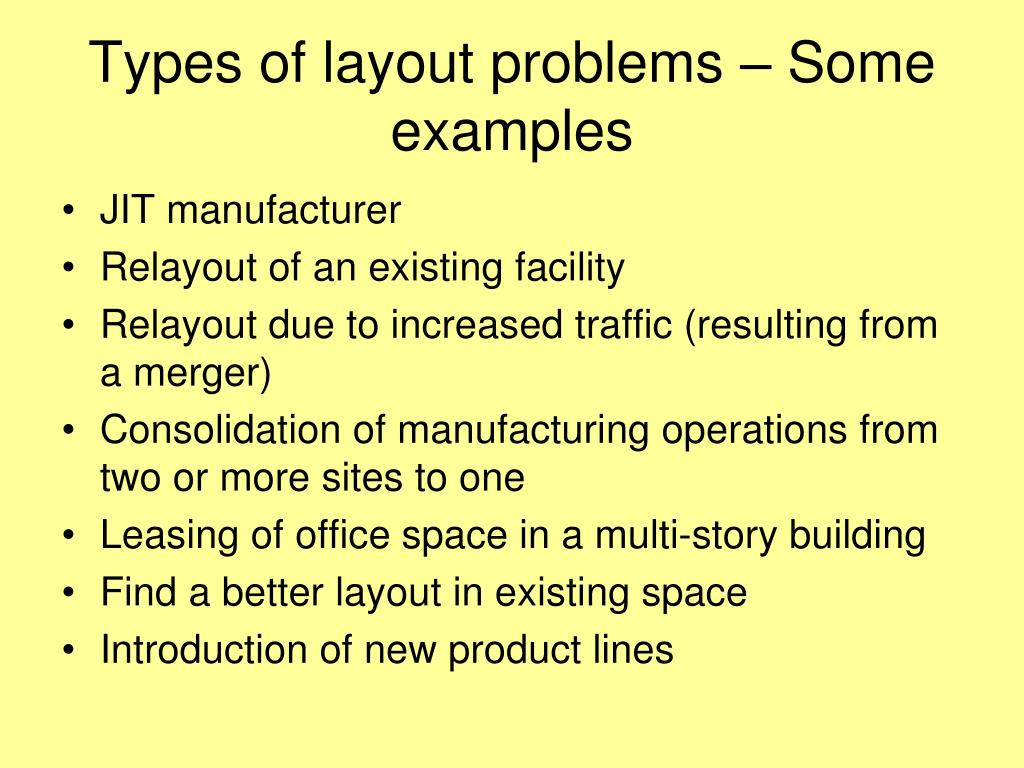 Types of layout problems – Some examples
