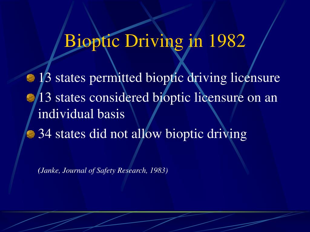 Bioptic Driving in 1982