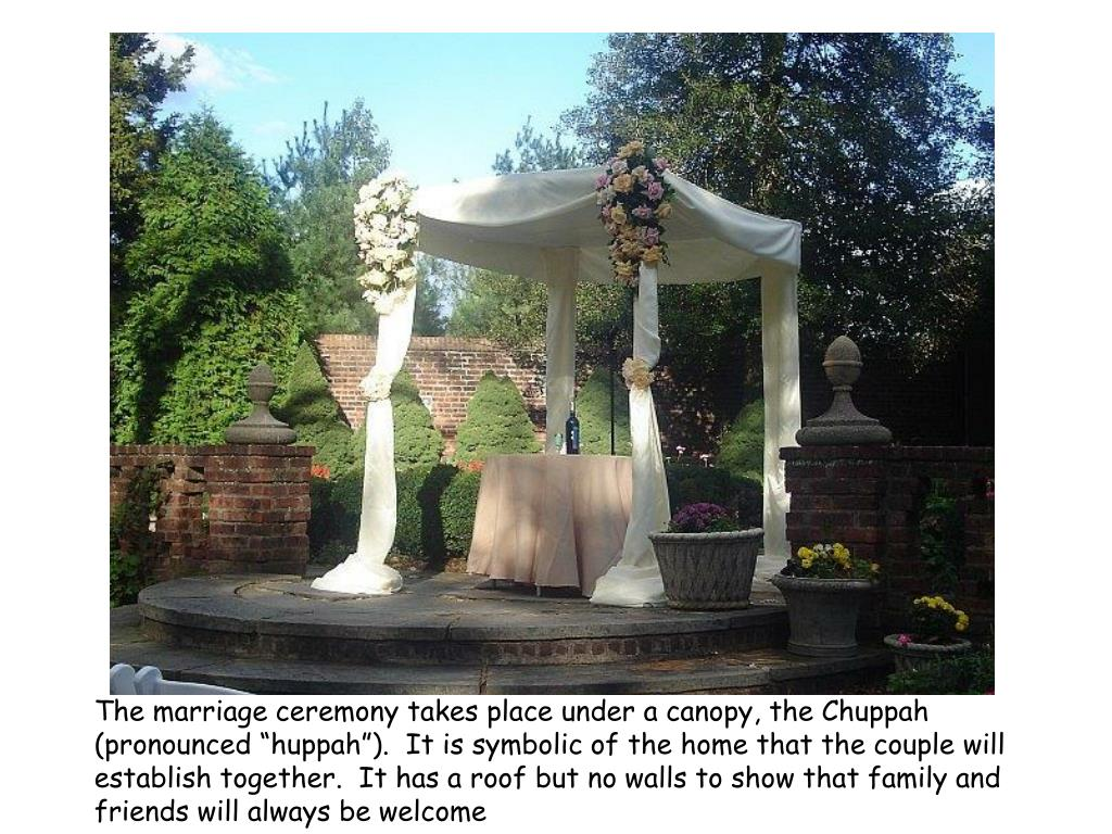 "The marriage ceremony takes place under a canopy, the Chuppah (pronounced ""huppah"").  It is symbolic of the home that the couple will establish together.  It has a roof but no walls to show that family and friends will always be welcome"