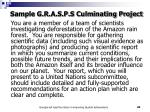 sample g r a s p s culminating project